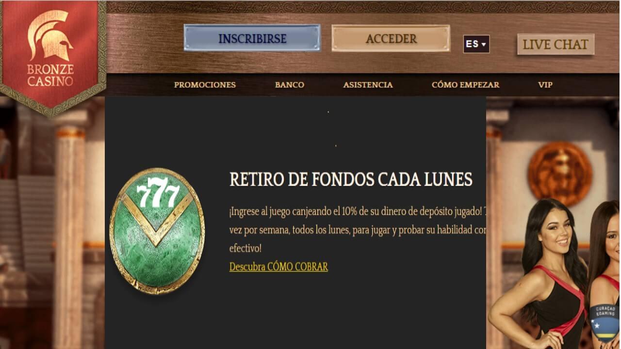 Bonos Bronze Casino 10% promocional por retiros los lunes