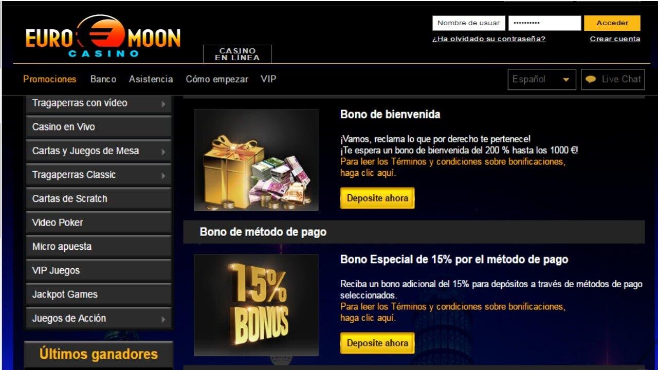 Bono de 15% por método de ingreso casino Euromoon