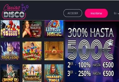 Hay 500 euros por bono de bienvenida en Casino Disco