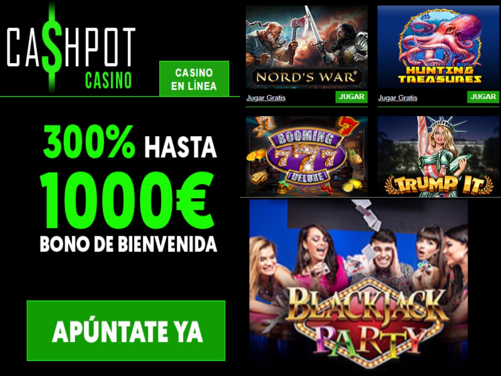 Casino Cashpot entrega hasta 1000 euros por bono de bienvenida