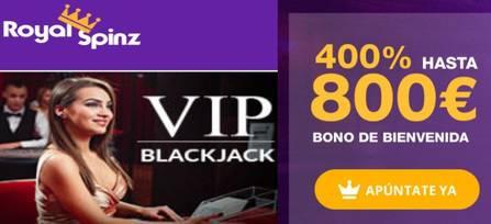 RoyalSpinz entrega 25 juegos gratis y 400% hasta por 800 euros