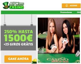 Gane hasta1500 euros por bono de bienvenida Casino Allwins