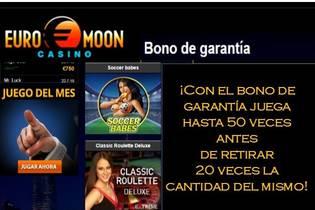 Juega hasta 50 veces con el bono de garantía Casino Euromoon