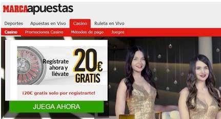 Registro en Marca Apuestas entrega 20 euros